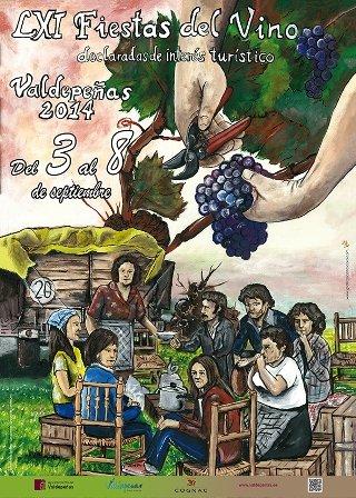 Cartel de la fiesta del vino en Valdepeñas